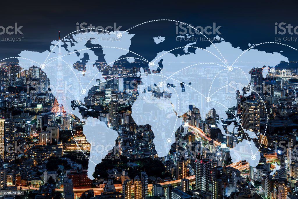 Network and world map  of Japan stock photo