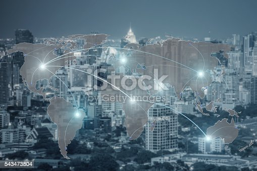 656082444 istock photo Network and world map on blur city 543473804
