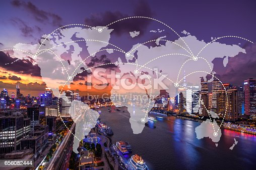 istock Network and world map on blur city 656082444