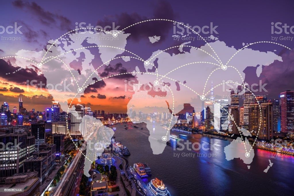 Network and world map on blur city - foto stock