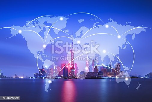 istock Network and world map on blur city 824628336