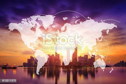 istock Network and world map on blur city 910311370