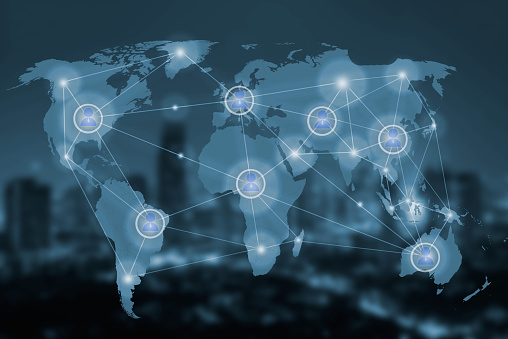 istock network and world map on blur city,networking concept 519504272