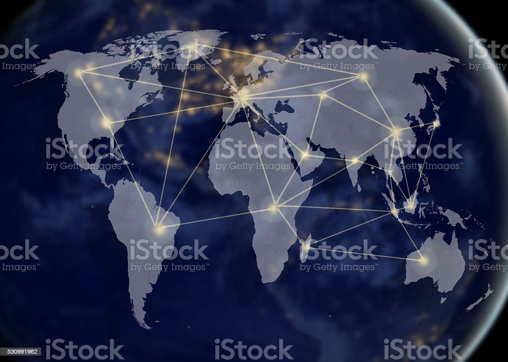 Network and world mapnetworking concept stock photo more pictures concepts topics globe navigational equipment internet map outer space gumiabroncs Gallery