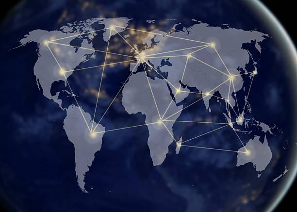 rete e mappa del mondo, concetto di networking - mercato luogo per il commercio foto e immagini stock