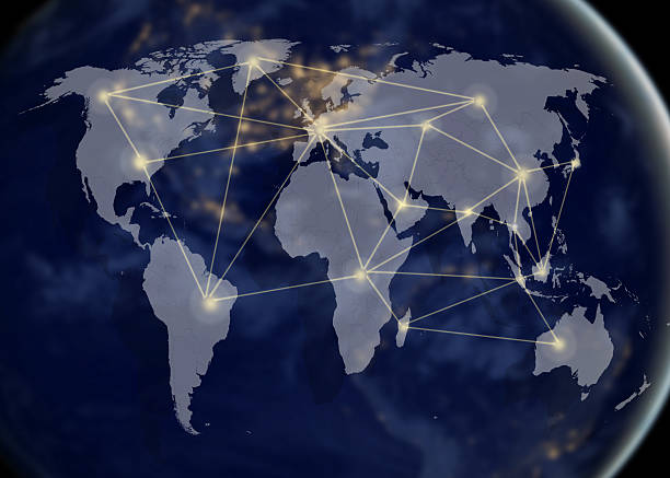 network and world map,networking concept stock photo