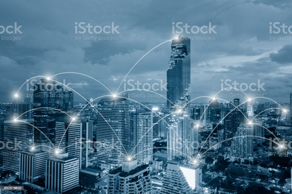 Network business conection system on cityscape background stock photo