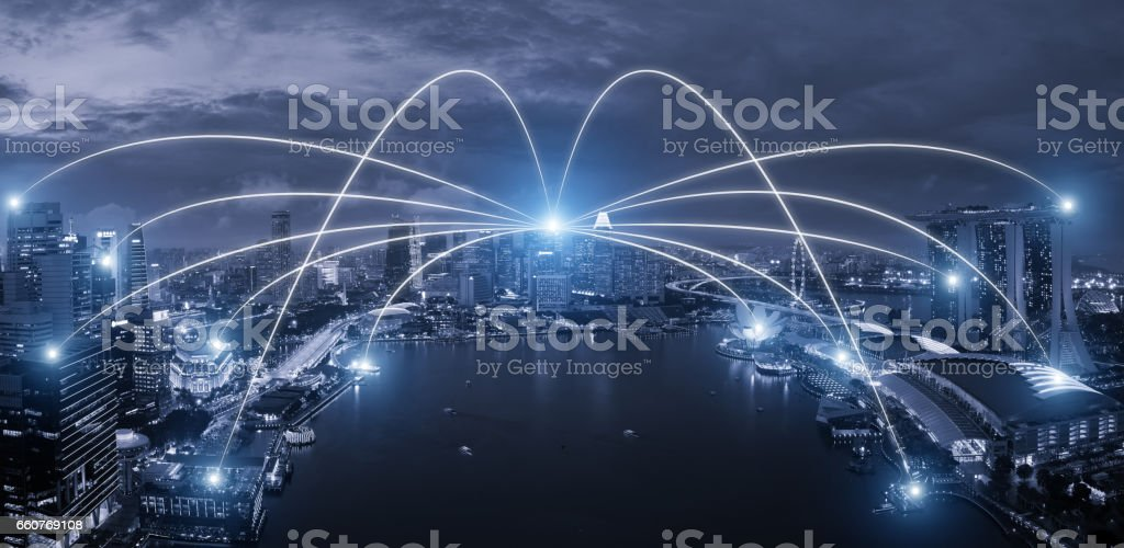 Network Business Conection System On Singapore Smart City Scape In
