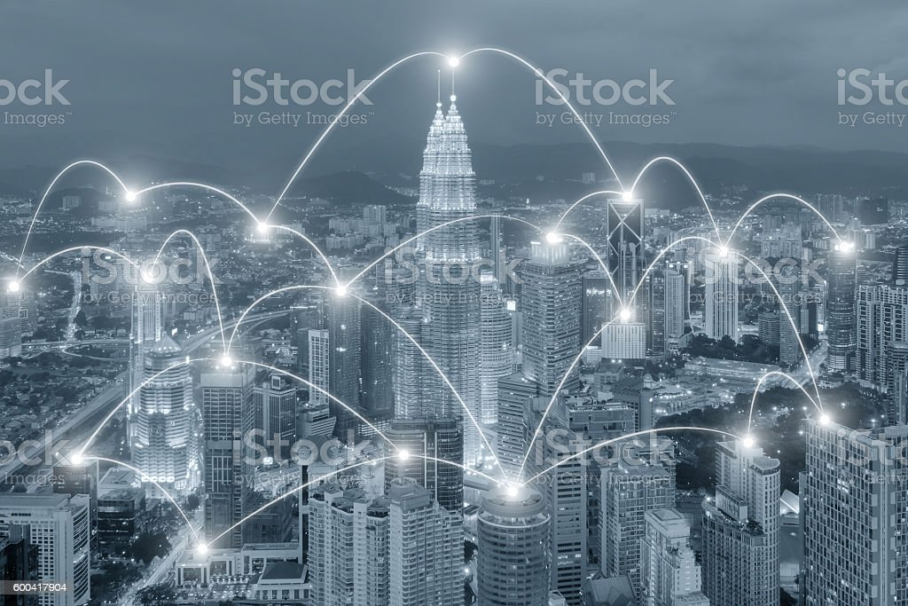 Network business connection system on cityscape background stock photo