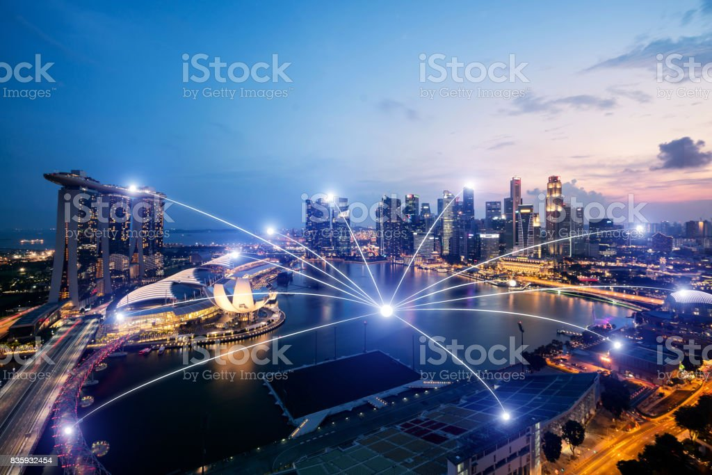Network business connection system on Singapore smart city scape in background.Network business connection concept stock photo