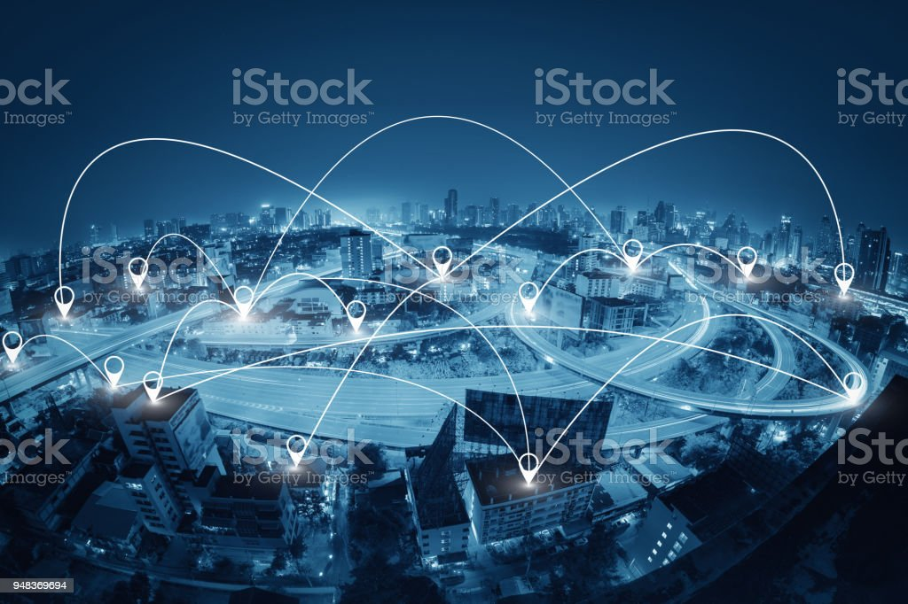 Network business connection system stock photo
