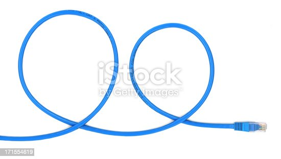 Blue network rj-45 cable makes two loops. Related images:
