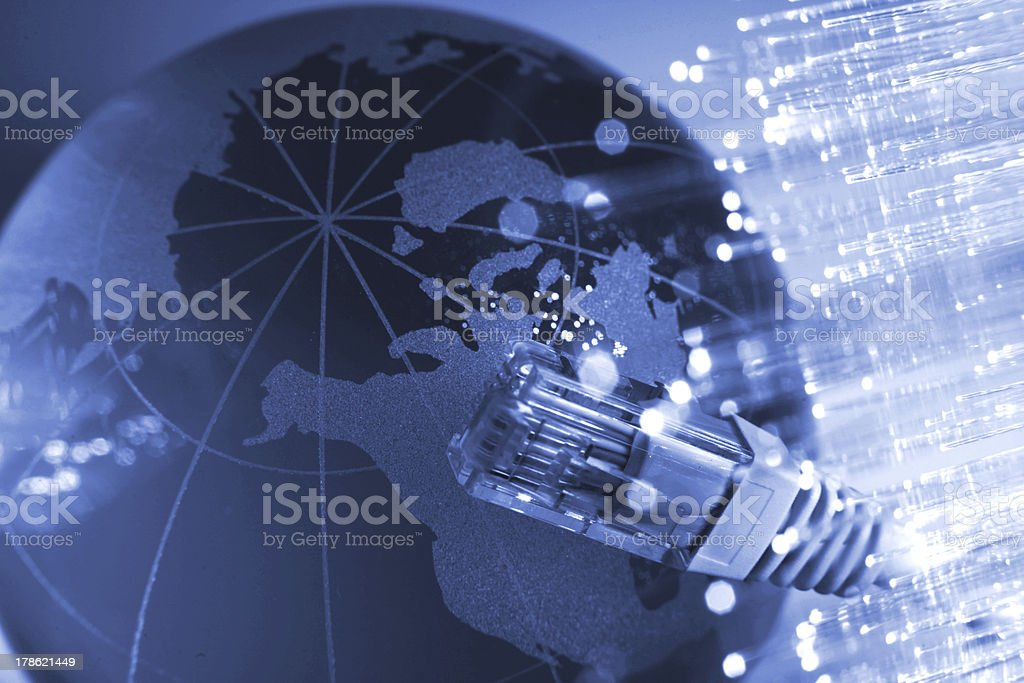 Network cable with Fiber optics light internet concept stock photo