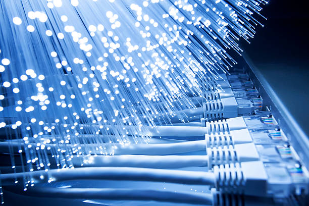 Network Cables And Fiber Optic Lights Stock Photo
