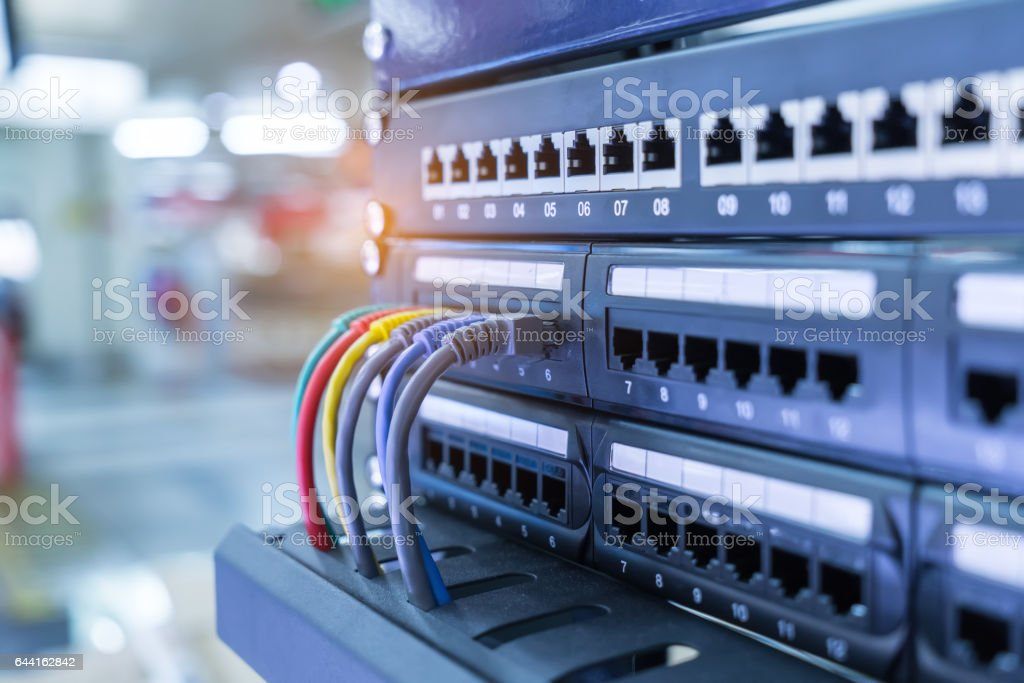 network cables and hub closeup stock photo