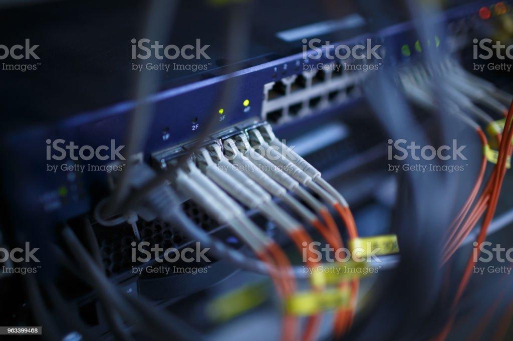 Network cables and hub closeup - Zbiór zdjęć royalty-free (Bez ludzi)