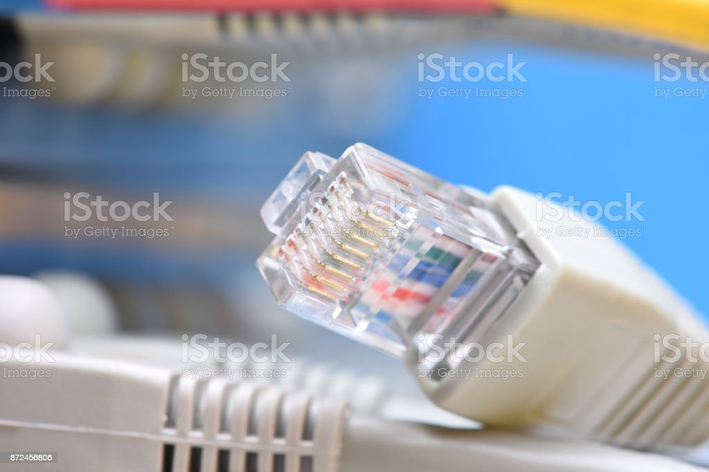 Network cables and server in datacenter stock photo