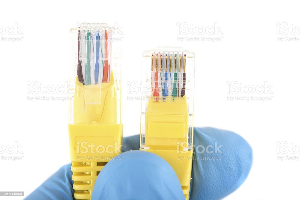 network cables cat5e in doctos hand close-up stock photo