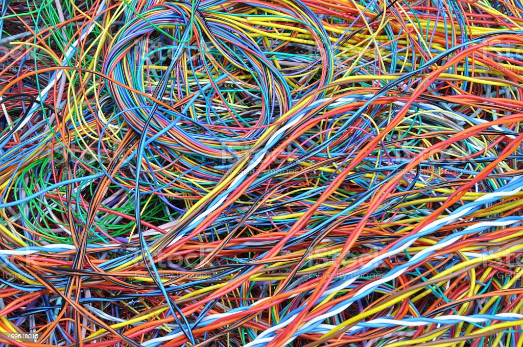 Computer Cable Chaos : Network chaos of colorful computer cables stock photo