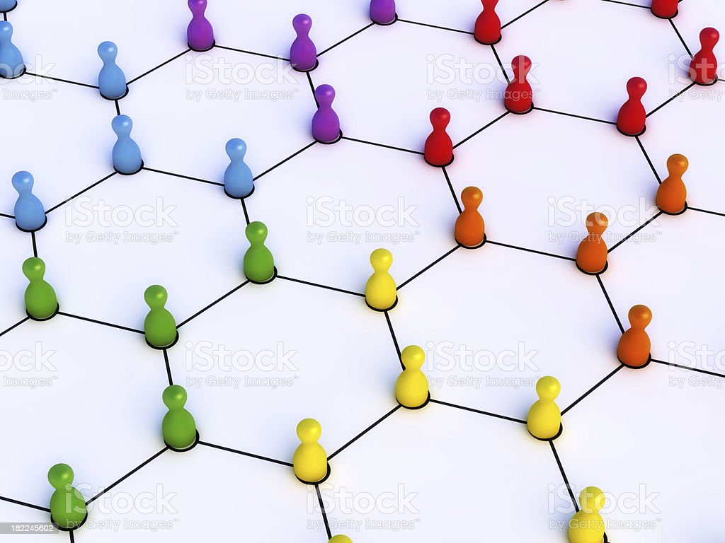 Network Colorful Pawns royalty-free stock photo