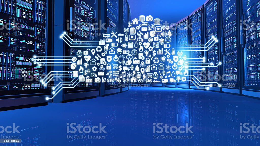 Network computers in futuristic server room with cloud computing services stock photo