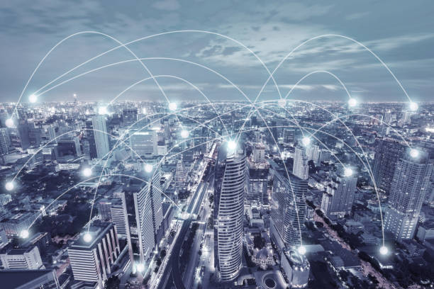 Network connection activity in the modern city skyscraper technology in blue tone illustration concept. stock photo