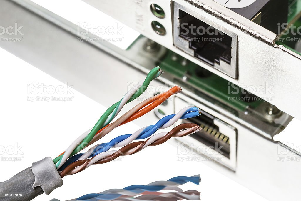 Network Connection and cable CAT5 stock photo