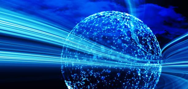 Netzwerkverbindungs- und Cloud-Speichertechnologie-Konzept auf moderner und intelligenter Stadt – Foto