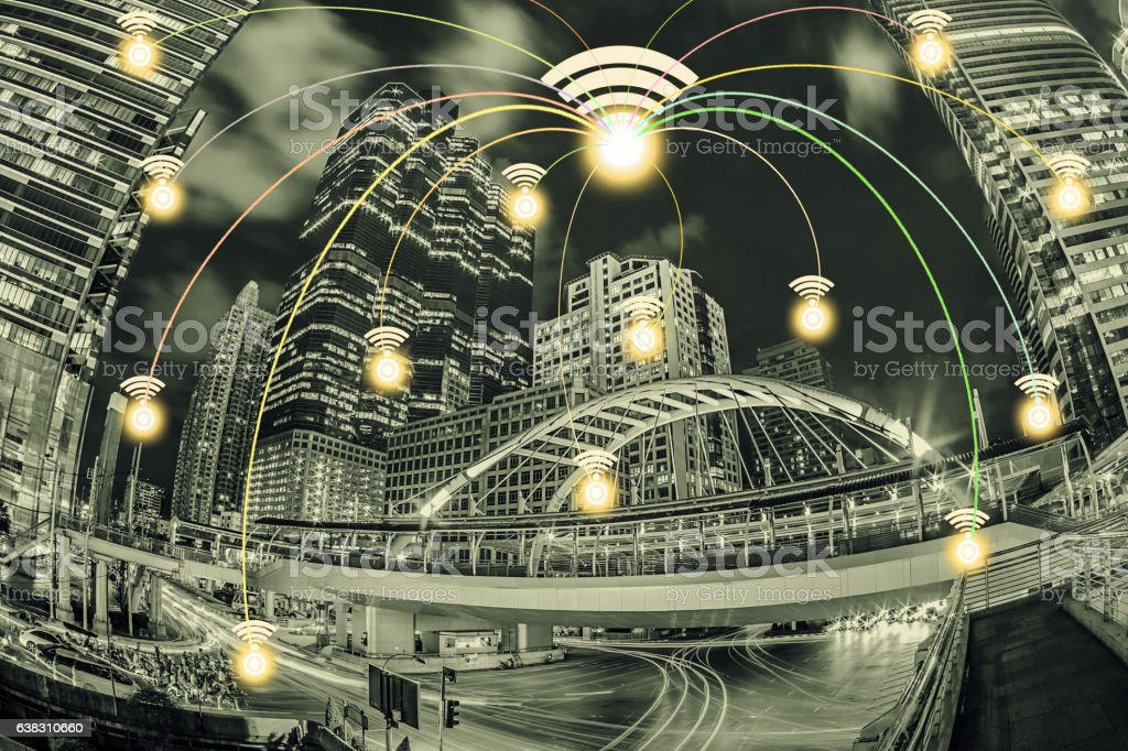 Network connection city with wifi icon and night city scape. stock photo