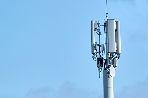 5G Network Connection Concept-5G smart cellular network antenna base station on the telecommunication mast.