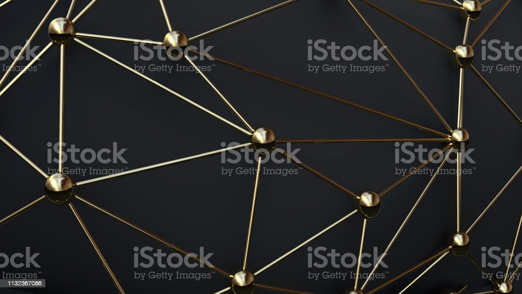 Network connection gold stock photo