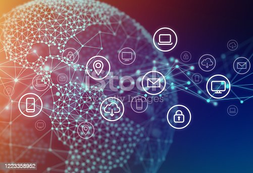 1127070103 istock photo Network Connection of Technology Icons on Globe Polygon Graphic Background with Connected Lines 1223358952