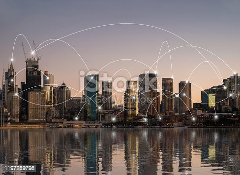 Network connection over the modern city, technology concept