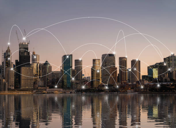 Netzwerkanbindung über die moderne Stadt, Technologiekonzept – Foto