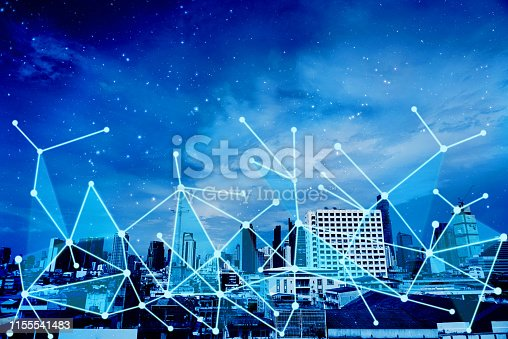 1155541483istockphoto Network connection overlay on blue theme cityscape background. 1155541483