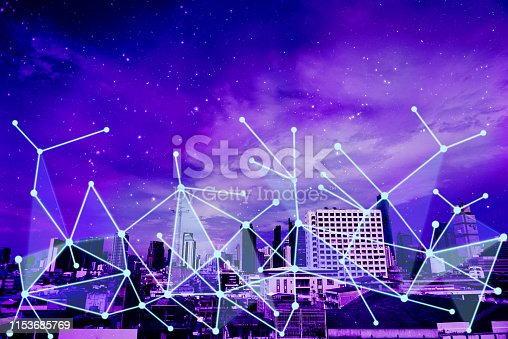 1155541483istockphoto Network connection overlay on futuristic theme cityscape background. 1153685769