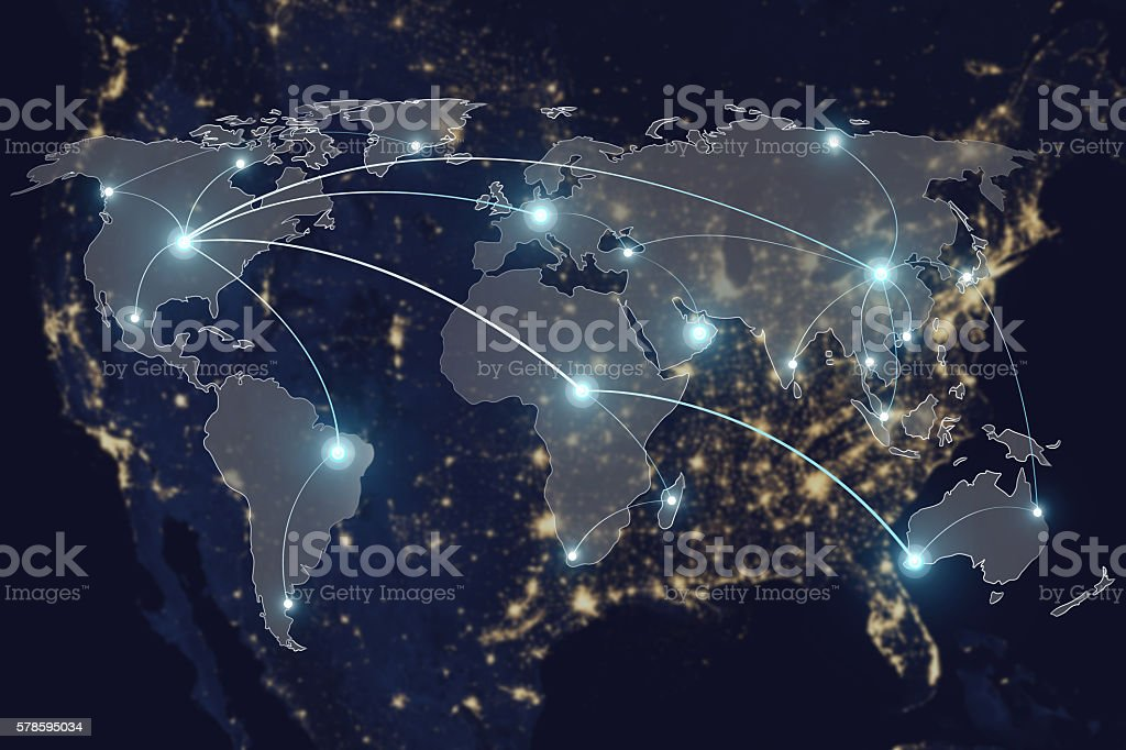 Network connection partnership and world map. - foto de stock