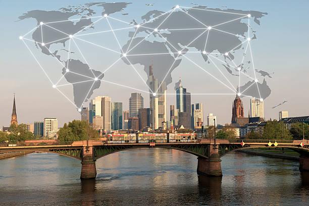 Network connection partnership with Frankfurt city. stock photo