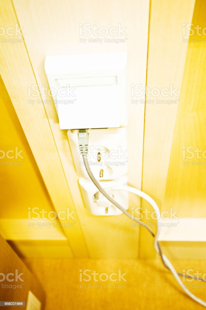 Network Connection Socket/Port and Electric Sockets stock photo