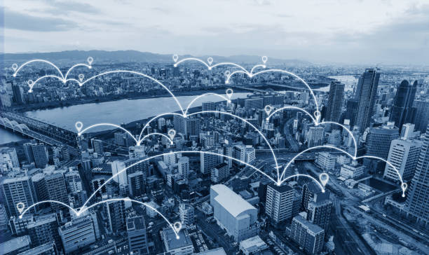 Network connection technology in the city, Blue cityspace with network links and location signs stock photo
