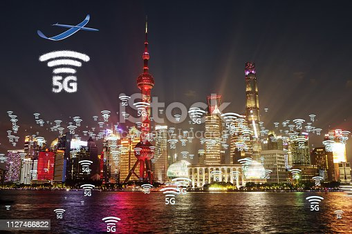 istock Network connection technology in the city, with 5g internet networking sign 1127466822