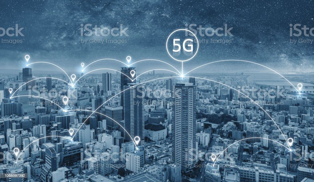 Network connection technology in the city, with 5g networking sign stock photo
