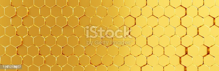 1003112136 istock photo Network connection with financial business concept. Cryptocurrency block chain system of future banking technology. 3d rendering. Glossy surface. Futuristic surface with golden hexagons. Big data 1191218927