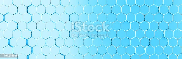 1003112136 istock photo Network connection with financial business concept. Cryptocurrency block chain system of future banking technology. 3d rendering. Glossy surface. Futuristic surface with golden hexagons. Big data 1191218948