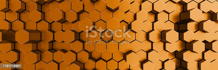 1003112136 istock photo Network connection with financial business concept. Cryptocurrency block chain system of future banking technology. 3d rendering. Glossy surface. Futuristic surface with golden hexagons. Big data 1191218951