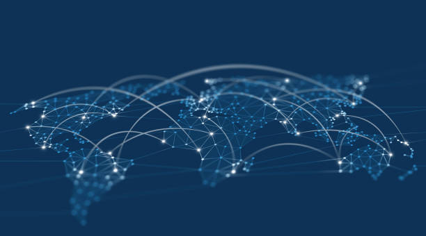 netzwerkverbindungen weltkarte polygon grafikhintergrund mit verbundenen linien - internationale geschäftswelt stock-fotos und bilder