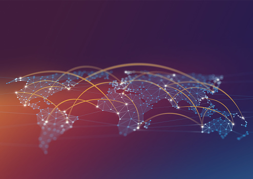 185274311 istock photo Network Connections World Map Polygon Graphic Background with Connected Lines 1202889167