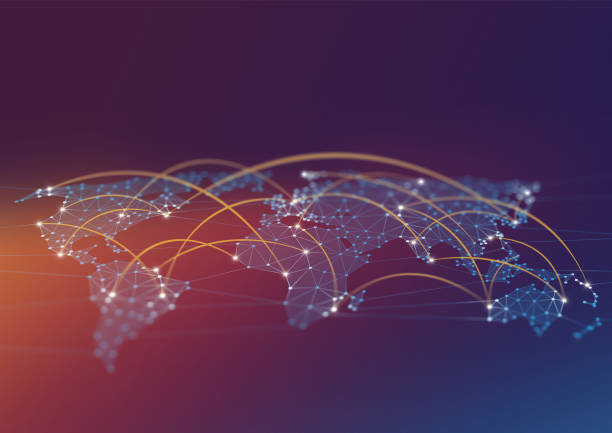 Network Connections World Map Polygon Graphic Background with Connected Lines stock photo