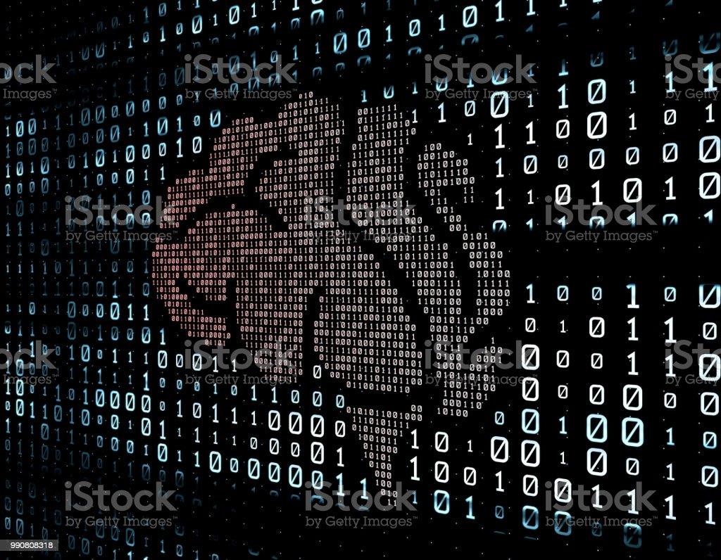 Network data transmission, binary network, future big data,brain stock photo