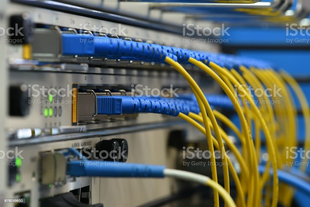 Network devices and optical cables royalty-free stock photo
